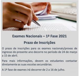 Exames Nacionais - 1ª Fase 2021